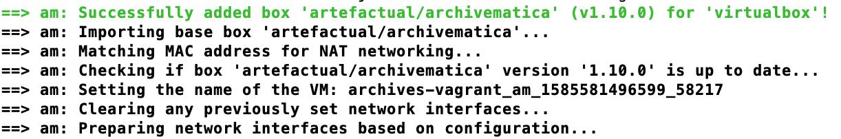 Screenshot of the Archivematica Vagrant box loading