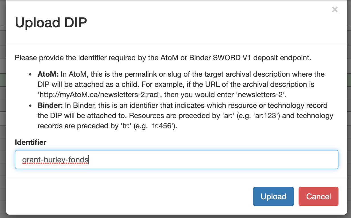 Entering the slug of the AtoM description where you are sendng your DIP