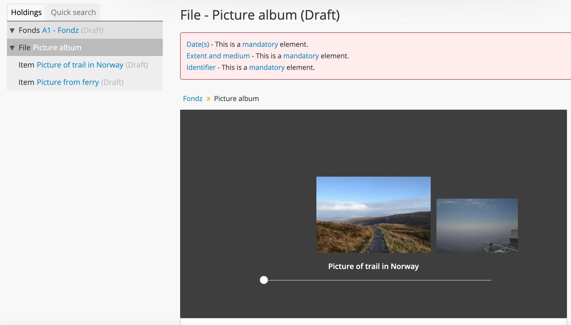 Screenshot of a DIP in AtoM